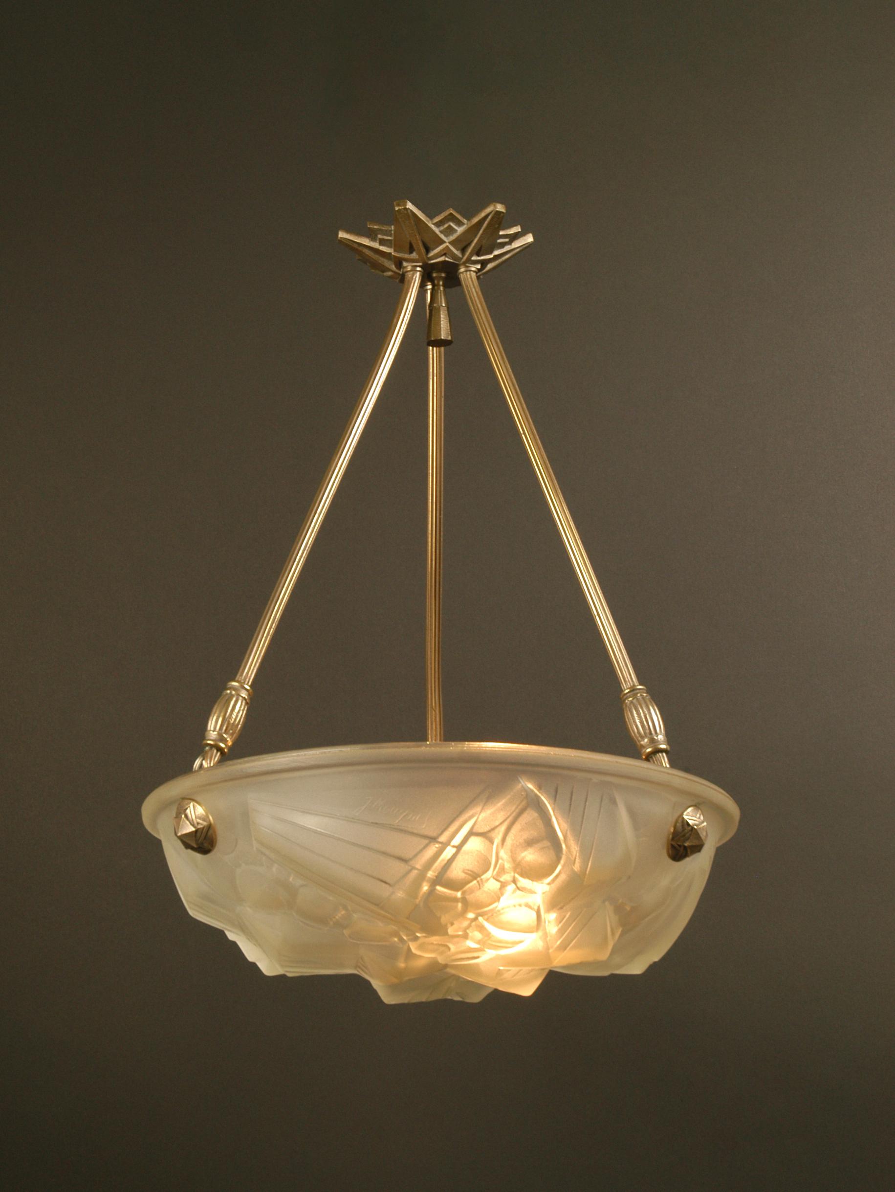 Glass bowl ceiling fixture art deco henri mouynet